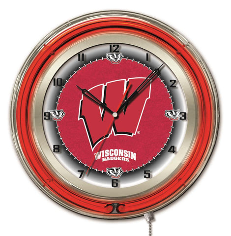 "Shop Wisconsin Badgers HBS Neon Red ""W"" Logo College Battery Powered Wall Clock (19"")"