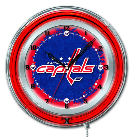 "Washington Capitals HBS Neon Red Hockey Battery Powered Wall Clock (19"")"