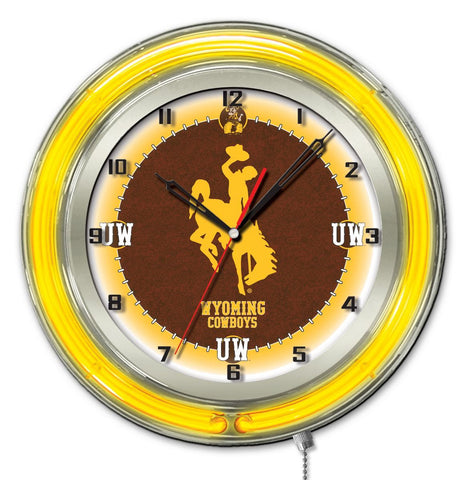 "Wyoming Cowboys HBS Neon Yellow College Battery Powered Wall Clock (19"")"