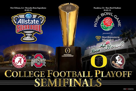 "Shop 2015 College Football Semifinals 4 Team Rose And Sugar Bowl Poster 24"" x 36"""