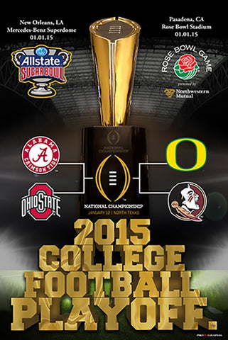 Shop 2015 College Football Playoff 4 Team Rose And Sugar Bowl Poster 24x36 - Sporting Up