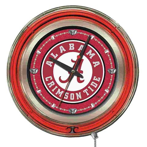 "Alabama Crimson Tide HBS Neon Red ""A"" Logo Battery Powered Wall Clock (15"")"