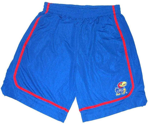 Shop Kansas Jayhawks Colosseum Blue Embroidered-Logo Mesh Drawstring Shorts (L)