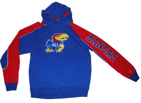 Shop Kansas Jayhawks Colosseum Blue Red Sleeve Big Mascot LS Hoodie Sweatshirt (L)