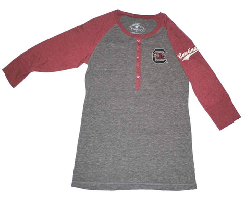 Shop South Carolina Gamecocks Colosseum Women Gray 5-Button Tri-Blend T-Shirt (M)