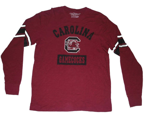 Shop South Carolina Gamecocks Colosseum Maroon Black White Arm Stripes LS T-Shirt (L)