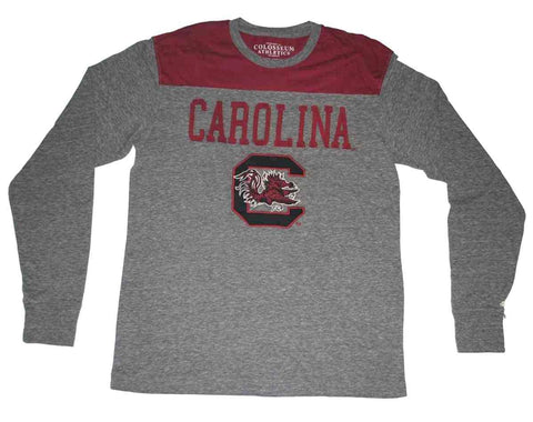 Shop South Carolina Gamecocks Colosseum Gray Maroon Long Sleeve Tri-Blend T-Shirt (L) - Sporting Up