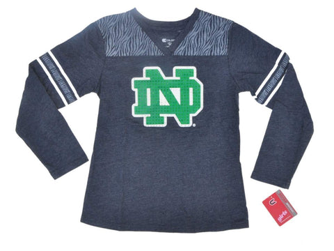 Shop Notre Dame Fighting Irish Colosseum Girl's Blue Long Sleeve V-Neck T-Shirt (M) - Sporting Up