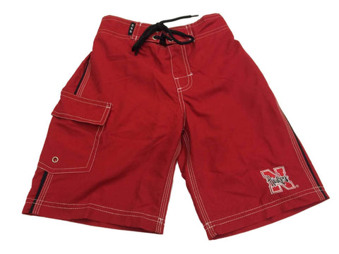Shop Nebraska Cornhuskers CSS YOUTH Boy's Red Embroidered Swim Board Shorts (S) - Sporting Up