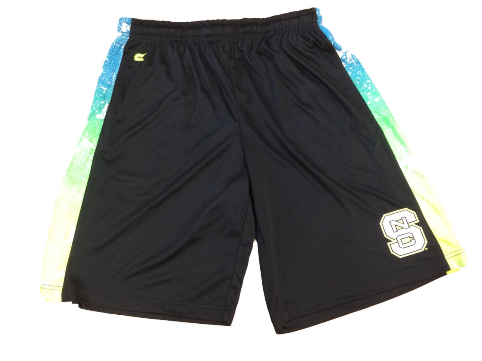 Nc State Colosseum Black With Neon Drawstring Athletic Shorts With Pockets (l)