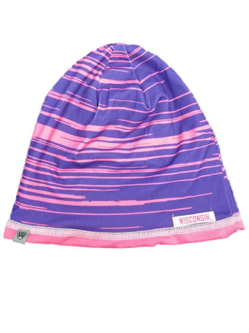 Wisconsin Badgers TOW Pink and Purple Striped GIRLS Reversible Beanie Hat Cap