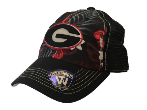 Georgia Bulldogs TOW Black with Tropical Style Pattern Mesh Adjustable Hat Cap