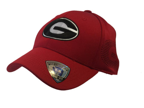 Georgia Bulldogs Top of the World Red One Fit Structured Fitted Hat Cap