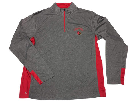 Louisville Cardinals Colosseum Gray Performance 1/4 Zip Long Sleeve Pullover (L)