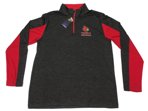 Louisville Cardinals Colosseum Charcoal Performance 1/4 Zip Up LS Pullover (L)