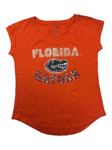 Shop Florida Gators Colosseum WOMEN'S Orange Sequin Logo Swoop Neck T-Shirt (M)