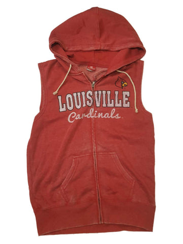 Shop Louisville Cardinals Colosseum WOMEN'S Faded Red Full Zip Sleeveless Hoodie (M)