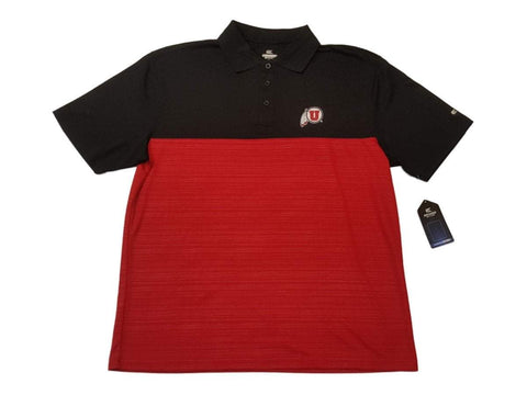 Shop Utah Utes Colosseum Black & Red 3 Button Placket Performance SS Polo (L)