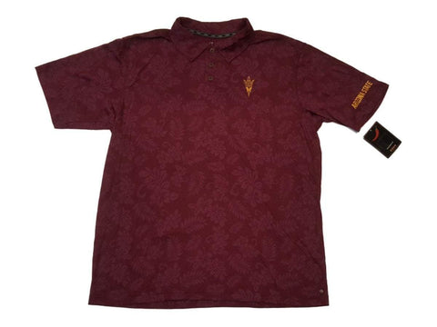Shop Arizona State Sun Devils Chiliwear Maroon Floral 3 Button Placket SS Polo (L)