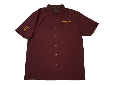Shop Arizona State Sun Devils Chiliwear Maroon Button Up Lightweight SS T-Shirt (L)