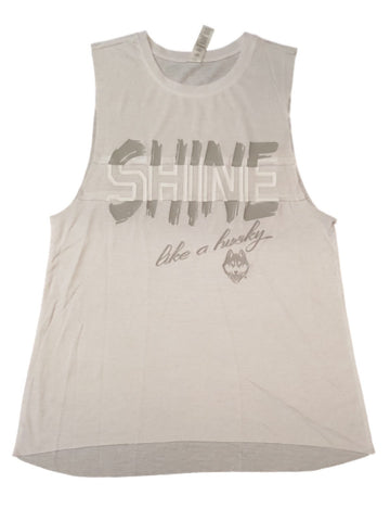 "Shop UCONN Huskies Colosseum WOMEN'S White ""Shine Like a Husky"" Bro Tank (S) - Sporting Up"