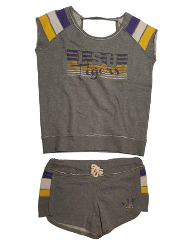 Shop LSU Tigers Colosseum WOMEN'S Gray Short Sleeve Sweatshirt & Shorts Set (M) - Sporting Up