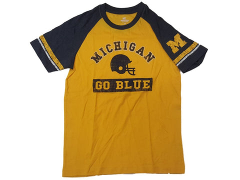 Michigan Wolverines Colosseum YOUTH Boy's Yellow & Navy SS T-Shirt 12-14 (M)