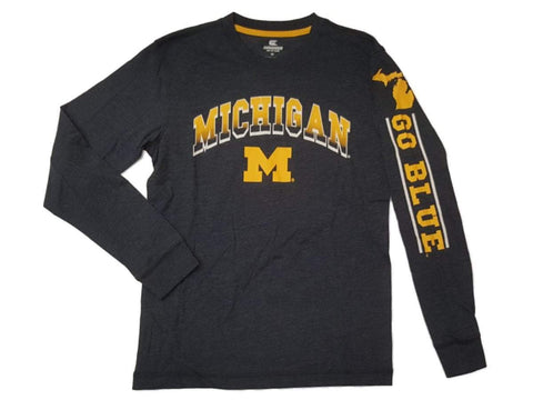 Shop Michigan Wolverines Colosseum YOUTH Boy's Navy Long Sleeve T-Shirt 12-14 (M)