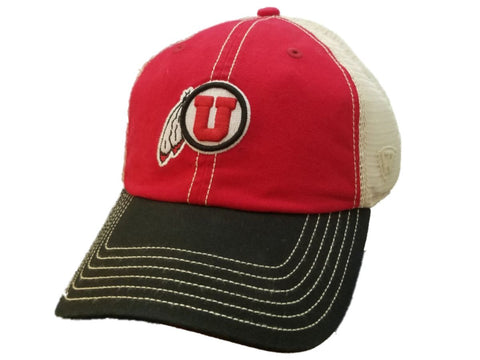 "Shop Utah Utes TOW Red & Black ""United"" Mesh Back Adj. Snapback Slouch Relax Hat Cap"
