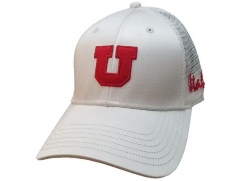 Shop Utah Utes TOW Shiny White Mesh Back Structured Adjustable Strapback Hat Cap
