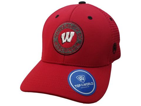 Wisconsin Badgers TOW Red Mesh Back Structured Adjustable Snapback Hat Cap