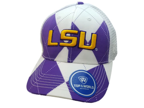 "Shop LSU Tigers TOW Purple White Argyle ""Get Loud"" Mesh Structured Adj. Strap Hat Cap - Sporting Up"