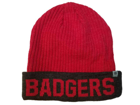 Shop Wisconsin Badgers TOW Red & Gray Acrylic Knit Cuffed Skull Beanie Hat Cap