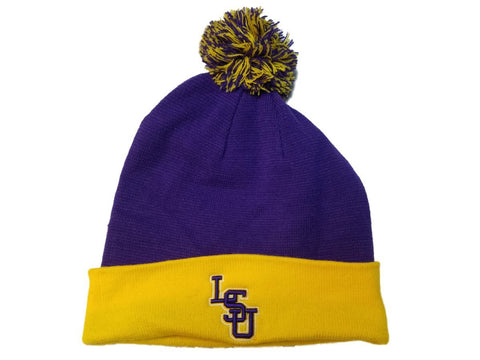 Shop LSU Tigers TOW Purple & Yellow Acrylic Knit Cuffed Beanie Hat Cap with Poof Ball - Sporting Up