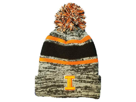 Shop Illinois Fighting Illini Zephyr Thick Acrylic Knit Cuffed Beanie Hat Cap w/ Poof - Sporting Up