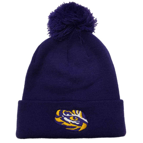 Shop LSU Tigers TOW Purple 100% Acrylic Knit Cuffed Beanie Hat Cap with Poof Ball