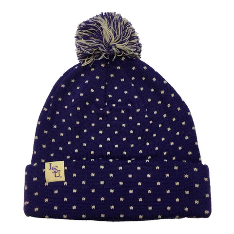 Shop LSU Tigers TOW Purple Polka-Dot Acrylic Knit Cuffed Beanie Hat Cap with Poof
