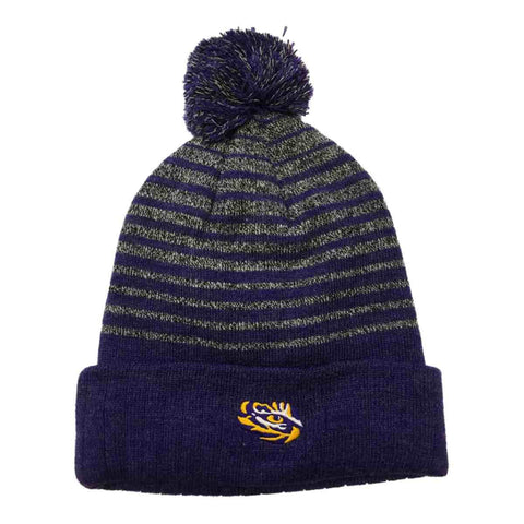 Shop LSU Tigers TOW Gray Purple Stripe Acrylic Knit Cuffed Beanie Hat Cap with Poof - Sporting Up