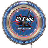 "DePaul Blue Demons HBS Neon Blue College Battery Powered Wall Clock (15"") - Sporting Up"