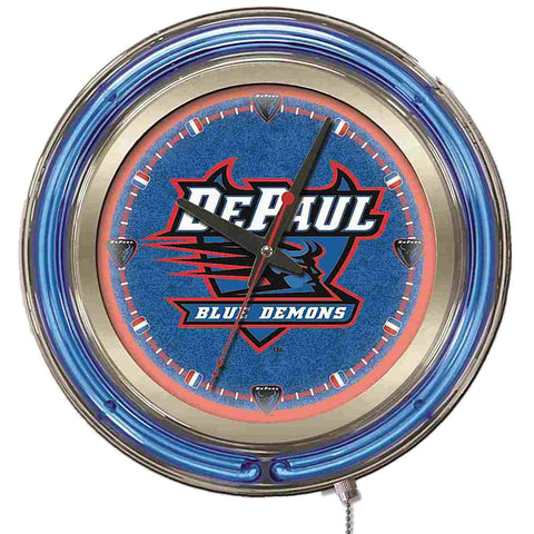 "Shop DePaul Blue Demons HBS Neon Blue College Battery Powered Wall Clock (15"") - Sporting Up"