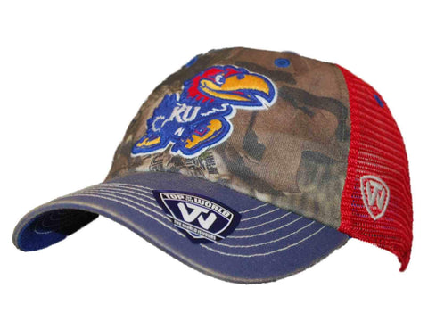 Shop Kansas Jayhawks Top of the World 8 Point Camo Red Mesh Snapback Hat Cap - Sporting Up
