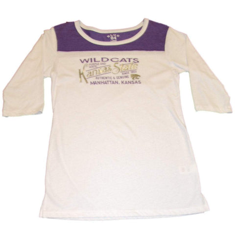 Shop Kansas State Wildcats Blue 84 1/4 Sleeve Metallic Silver Text Womens White Shirt - Sporting Up