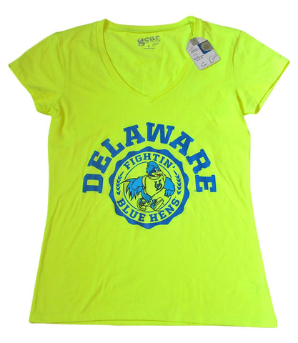 Shop Delaware Blue Hens Gear for Sports Neon Yellow Co-Ed V-Neck Womens T-Shirt (M)