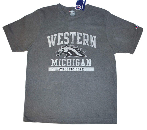 Western Michigan Broncos Champion Gray Soft Cotton Short Sleeve T-Shirt (L)