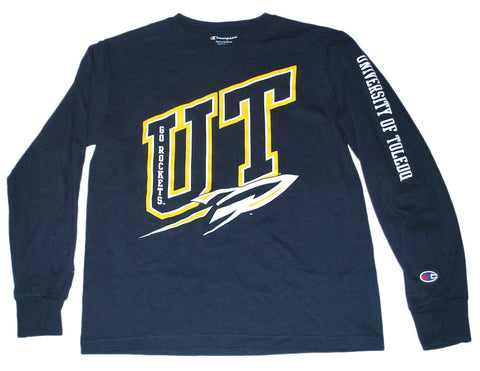 "Toledo Rockets Champion Youth Navy Yellow ""Go Rockets"" Long Sleeve T-Shirt 8 (M)"