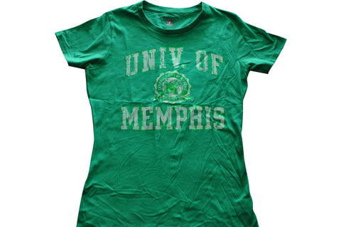 Memphis Tigers Champion Womens Green Faded Crest Logo T-Shirt (M) - Sporting Up