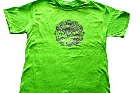 Shop Kansas State Wildcats Champion Womens Neon Green Metallic Crest Logo T-Shirt (M)