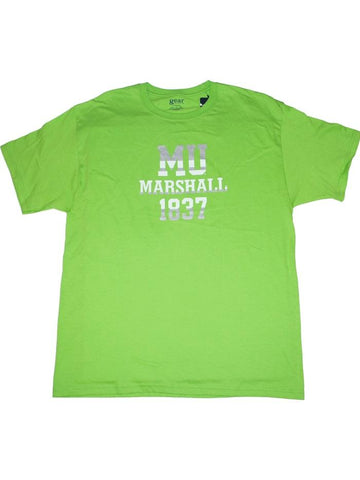 Marshall Thundering Herd Gear for Sports Pea Green Soft Cotton T-Shirt (L)
