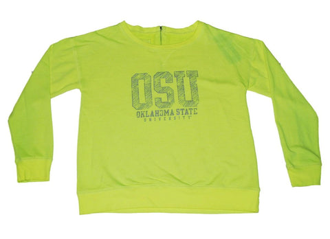 Oklahoma State Cowboys Gear for Sports Women Neon Yellow Zip Back Sweatshirt (M)