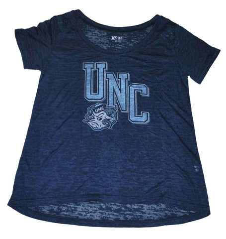 Shop North Carolina Tar Heels Gear Women Navy Burn Out Lightweight T-Shirt (M)